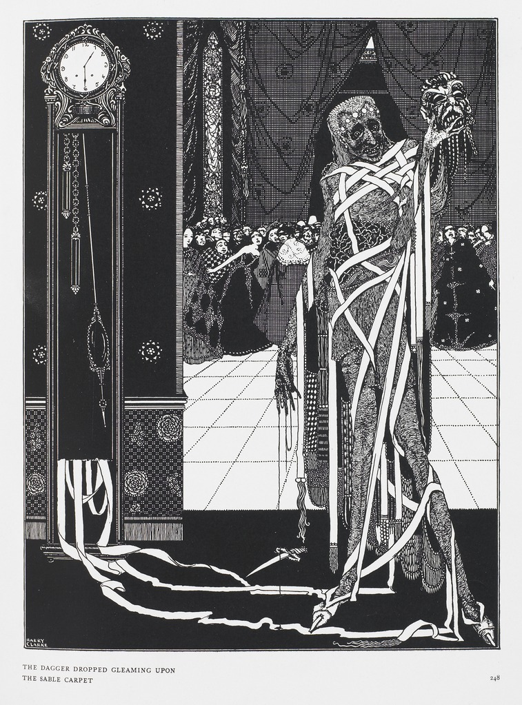 """The dagger dropped gleaming upon the sable carpet"". From  Tales of Mystery and Imagination ... Illustrated by Harry Clarke , by Edgar Allan Poe. London : G. G. Harrap & Co., 1919. (British Library item 12703.i.43). Illustrating  The Masque of the Red Death ."