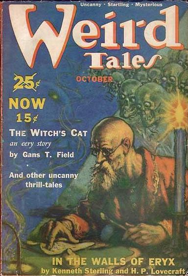 Cover of the pulp magazine  Weird Tales  (October 1939, vol. 34, no. 4) featuring  In the Walls of Eryx  by Kenneth Sterling and H. P. Lovecraft. Cover art by Harold S. Delay. Published by Weird Tales, Inc.