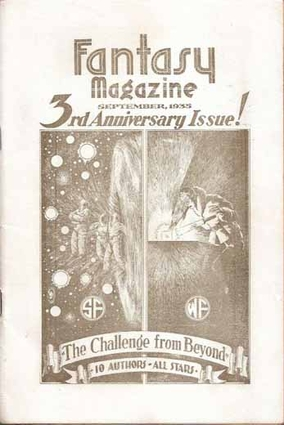 """Cover of """"Fantasy Magazine"""" featuring """"The Challenge From Beyond"""" by Moore, Merritt, Lovecraft, Howard, and Long, September 1935"""