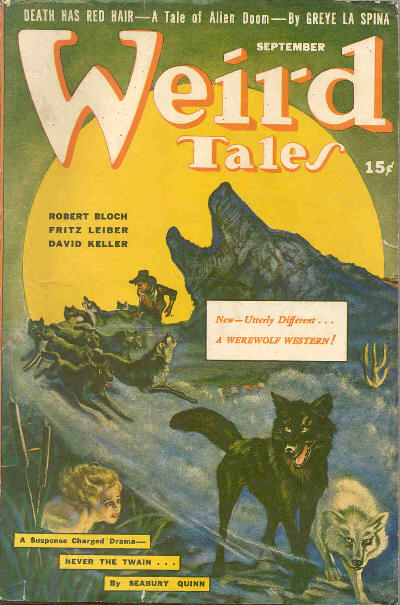"Cover of the pulp magazine  Weird Tales  (September 1942, vol. 36, no. 7) featuring  Satan's Bondage  (""a werewolf western"") by Manly Banister. Cover art by A. R. Tilburn."