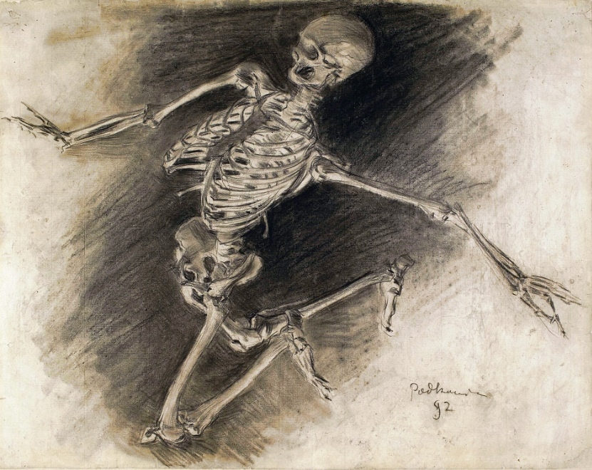 """""""Fleeing Skeleton"""", Wladyslaw Podkowinski, 1892, Charcoal and Gouache on paper, National Museum in Warsaw"""