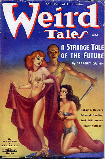 Cover of the pulp magazine  Weird Tales (May 1938, vol. 31, no. 5) featuring  Thunder in the Dawn (an Elak novella) by Henry Kuttner. Cover art by Margaret Brundage.