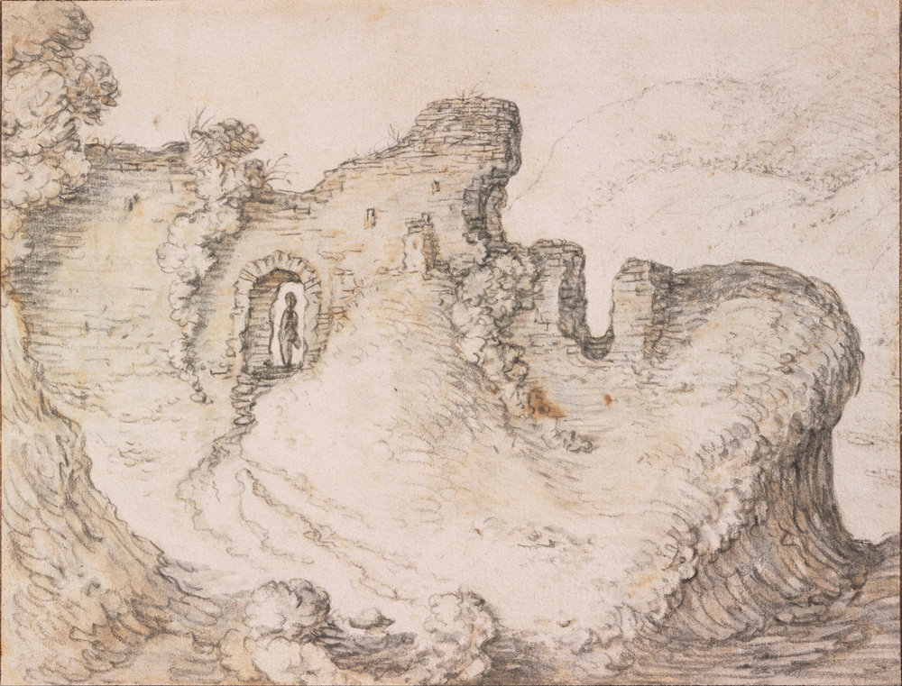 """Rocky Landscape with Ruins, Forming the Profile of a Man's Face"", circa 1650, Herman Saftleven, drawing brown ink and black chalk on grey paper, Centraal Museum"