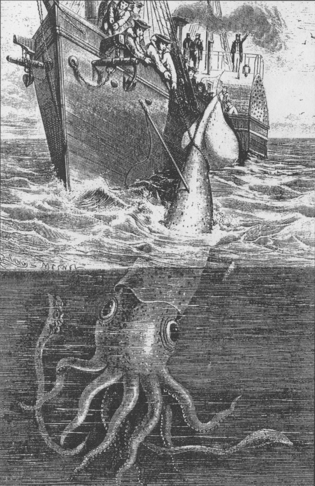 The  Alecton attempts to capture a giant squid off Tenerife in 1861. Illustration from Henry Lee's  Sea Monsters Unmasked , London, 1884.