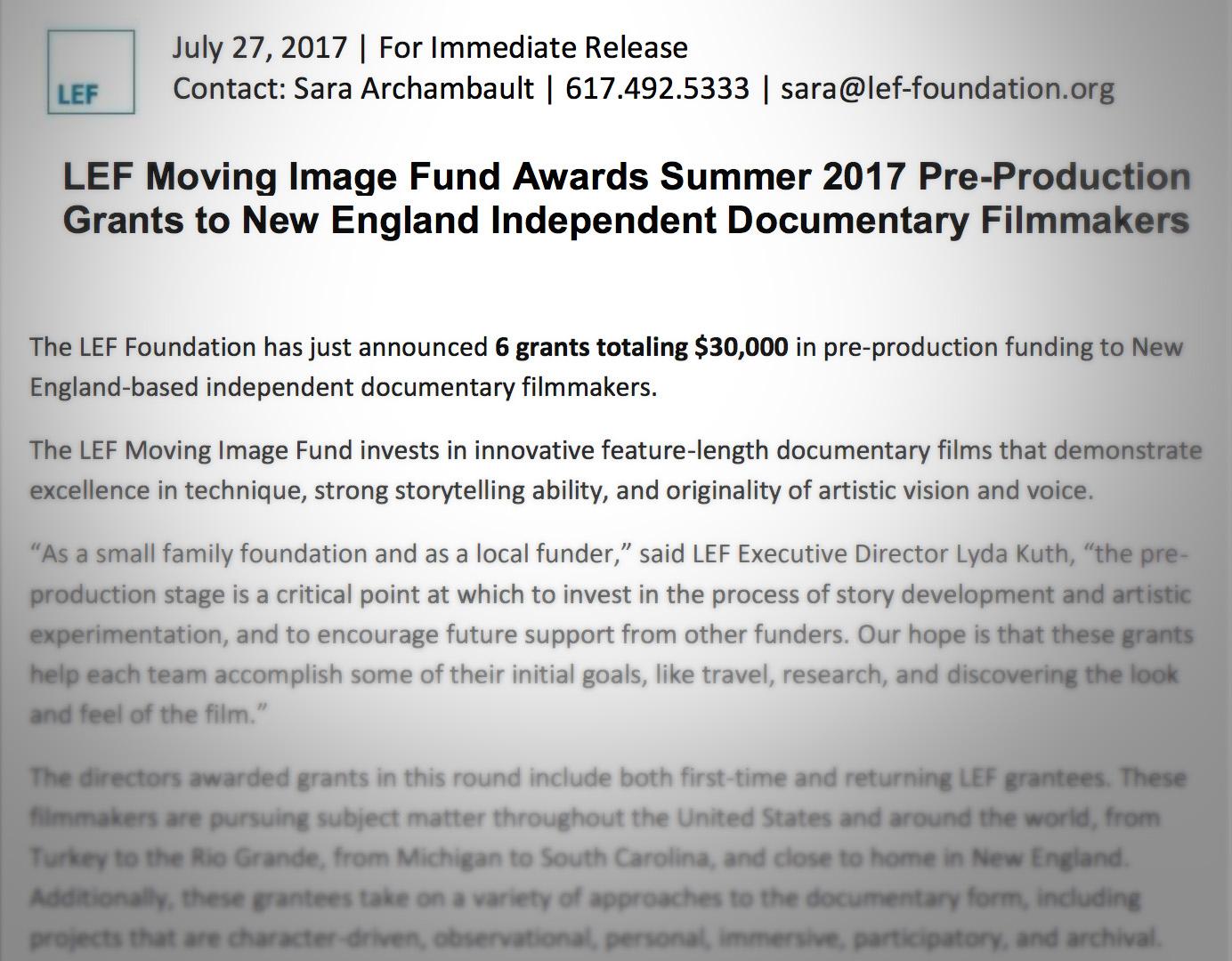 Mi Casita Awarded Lef Foundation Pre Production Funding Mi