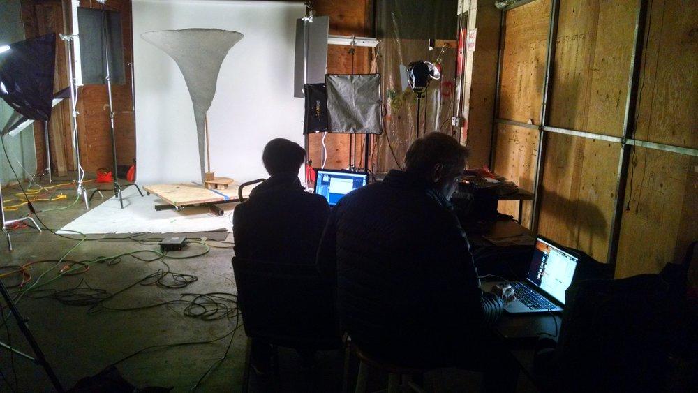 Director Mark Smith and Director of Photography Reijean Heringlake shoot tornado footage.  Photograph by Vanessa Pridgen
