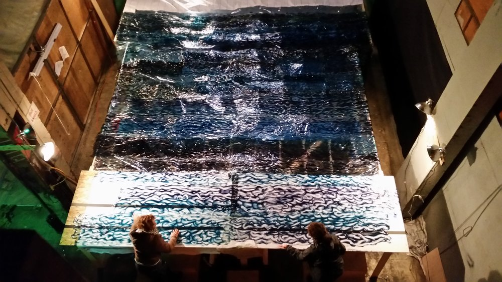 The artificial ocean from above, adding the finishing touches.  Photograph by Kathleen Chamberlin