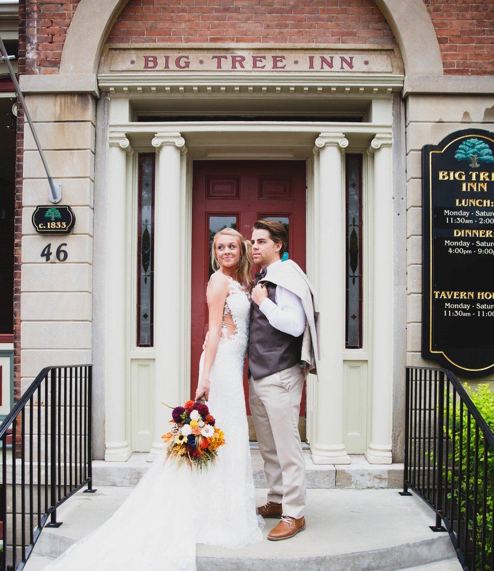 Just Married outside Big Tree Inn