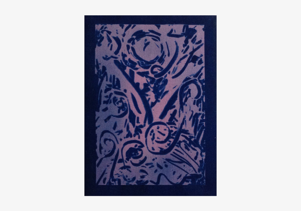 "Thomas Arden,  Untitled , 2017, cyanotype on linen, W 5"" x H 7"""