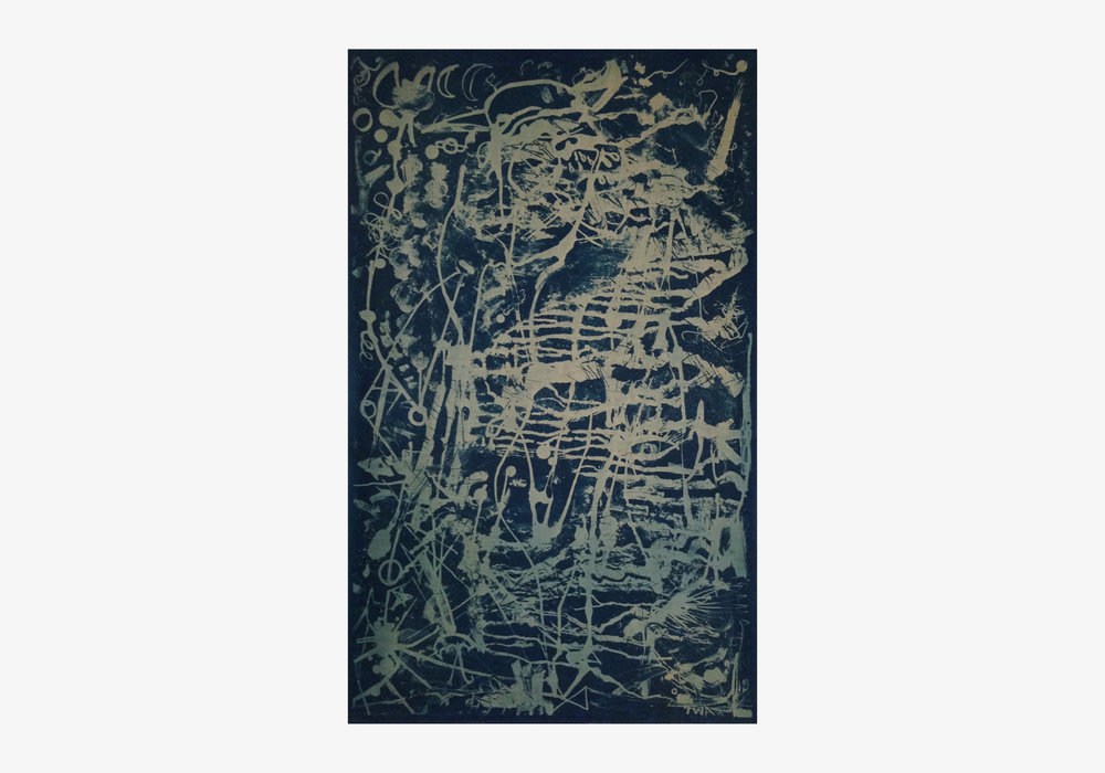 "Thomas Arden ,  Untitled , 2015, cyanotype on linen, 26"" x 1.5"" x 41"""