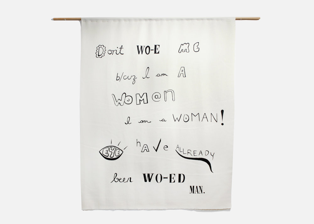 "Sharona Franklin    Missing Wo[E]Mans , 2016, wool, acrylic, wood, cotton thread, width 46.5"" x height 59"""