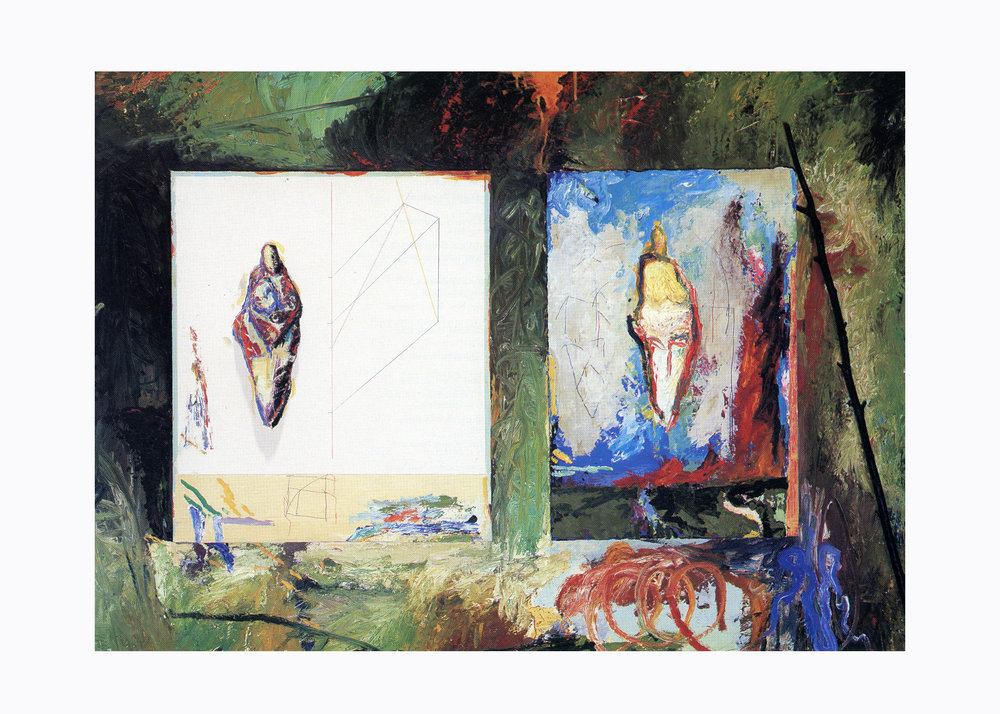 Keith Mitchell,  Angels of Lespugue , 1989, oil and mixed media on wood panel, maple tree branch, L 53 x H 37 x W 3.5 inches. Private collection.