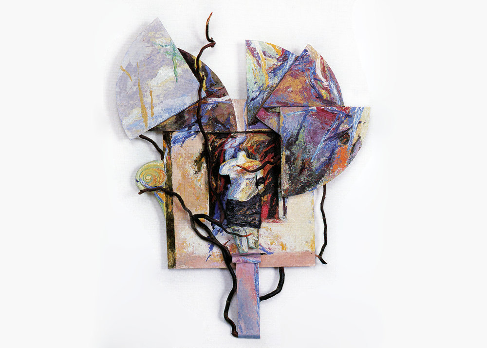 Keith Mitchell,  Entangled Garden , 1986, mixed media, oil paint, wood panel, arbutus branches, L 44 x H 33 x W 5.5 inches. Private collection.