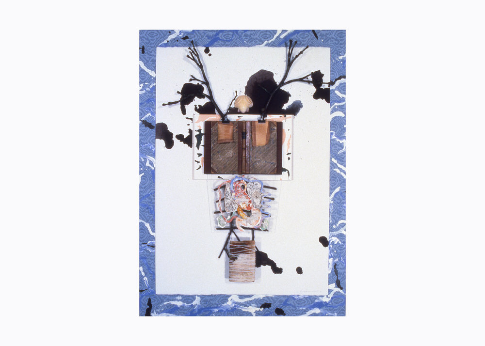 Keith Mitchell,  Summa , 1992, mixed media, oil paint, wood panel, ink, wood, tree branches, silk, shells, W 35 x L 48 x W 3 inches. Private collection.