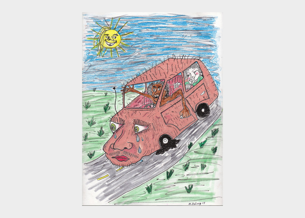 """Mark DeLong , Sad Car , 2018, pencil and ink on paper, width 9""""x height 12""""  $500"""