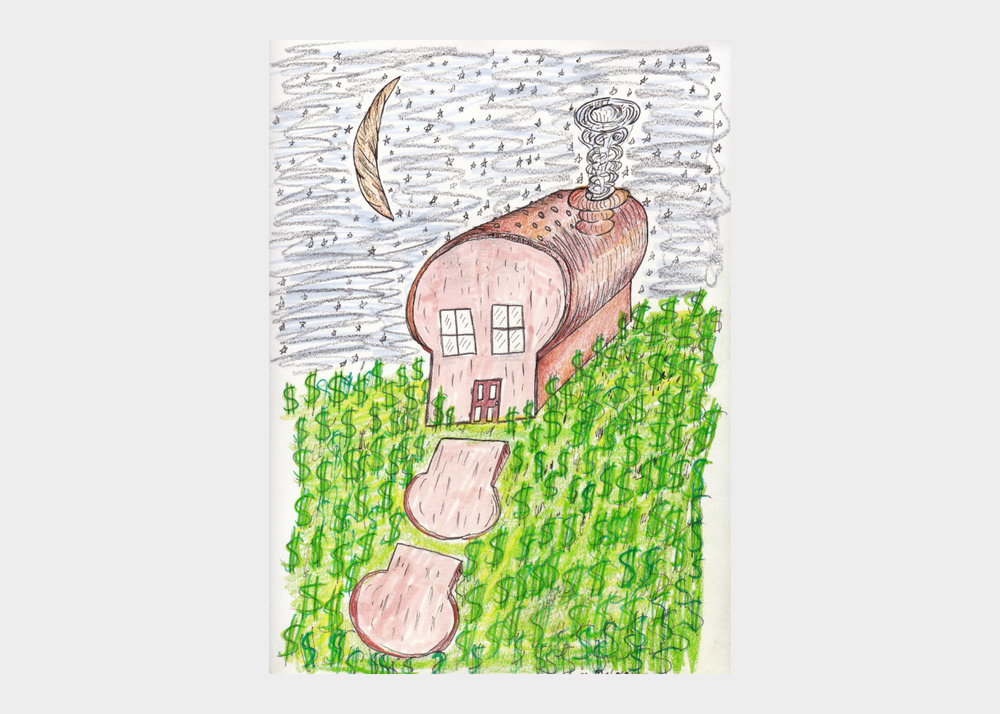 """Mark DeLong , Bread House , 2018, pencil and ink on paper, width 9""""x height 12""""  $500"""