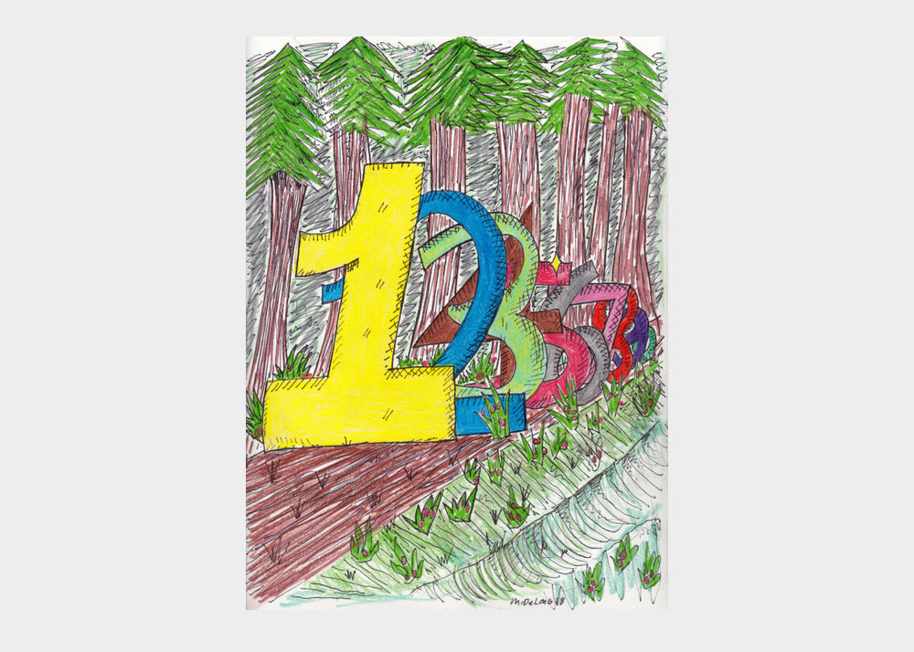 """Mark DeLong , Into the Forest , 2018, pencil and ink on paper, width 9""""x height 12""""  $500"""