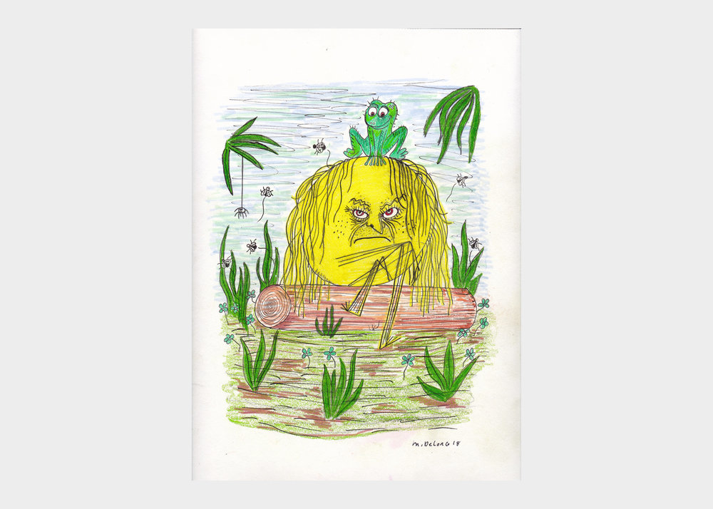 """Mark DeLong , Sun Sits in Swamp Filled with Anger , 2018, pencil and ink on paper, width 9""""x height 12""""  $500"""