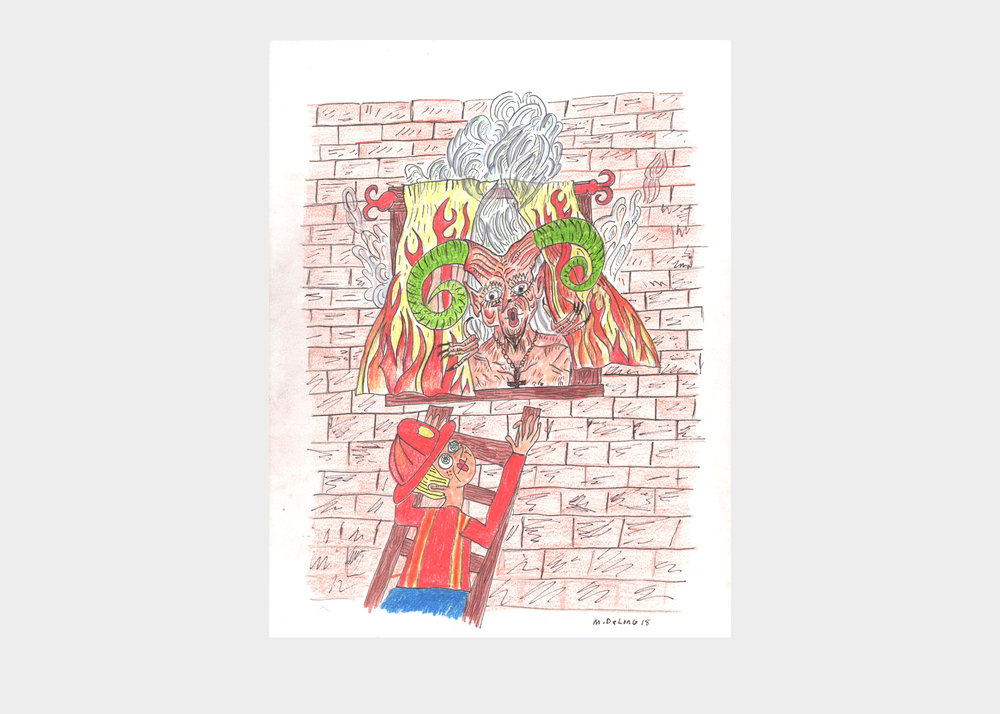 """Mark DeLong ,  Fire in the Devil's Apartment Again , 2018, pencil and ink on paper, width 9""""x height 12""""  $500"""
