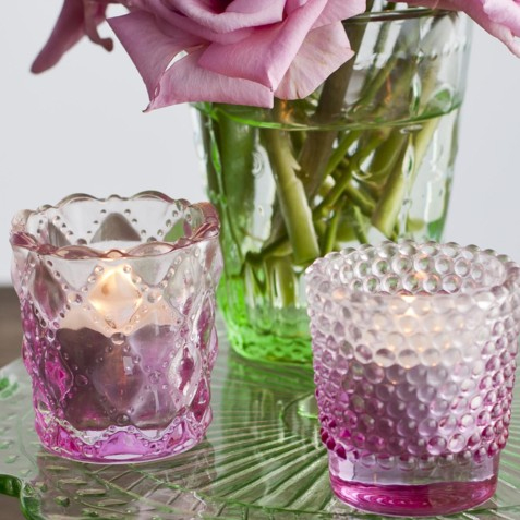 Rose Pink Glass Tealight