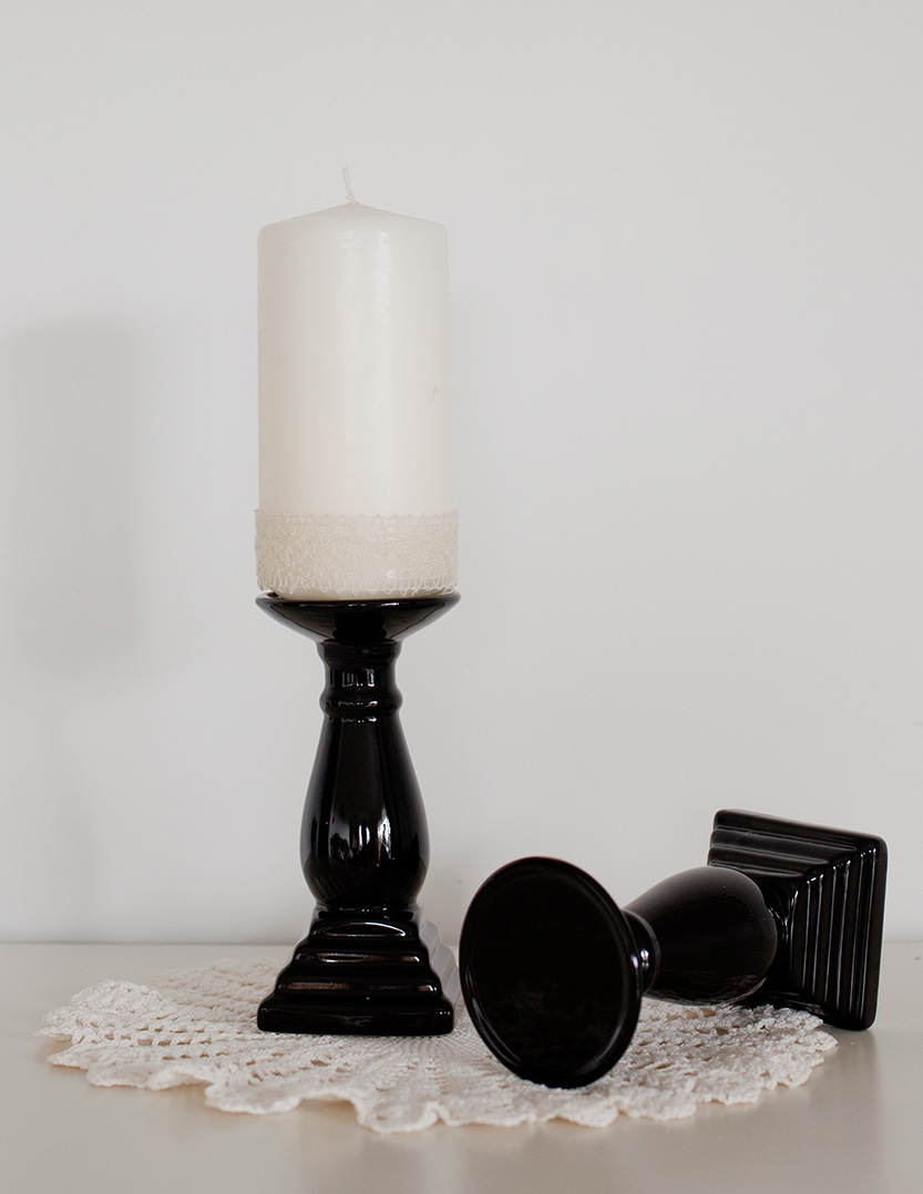 Black Pillar Candle Sticks