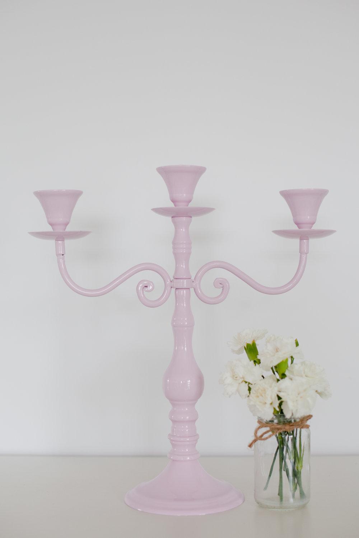 Pink Metal Candleabra