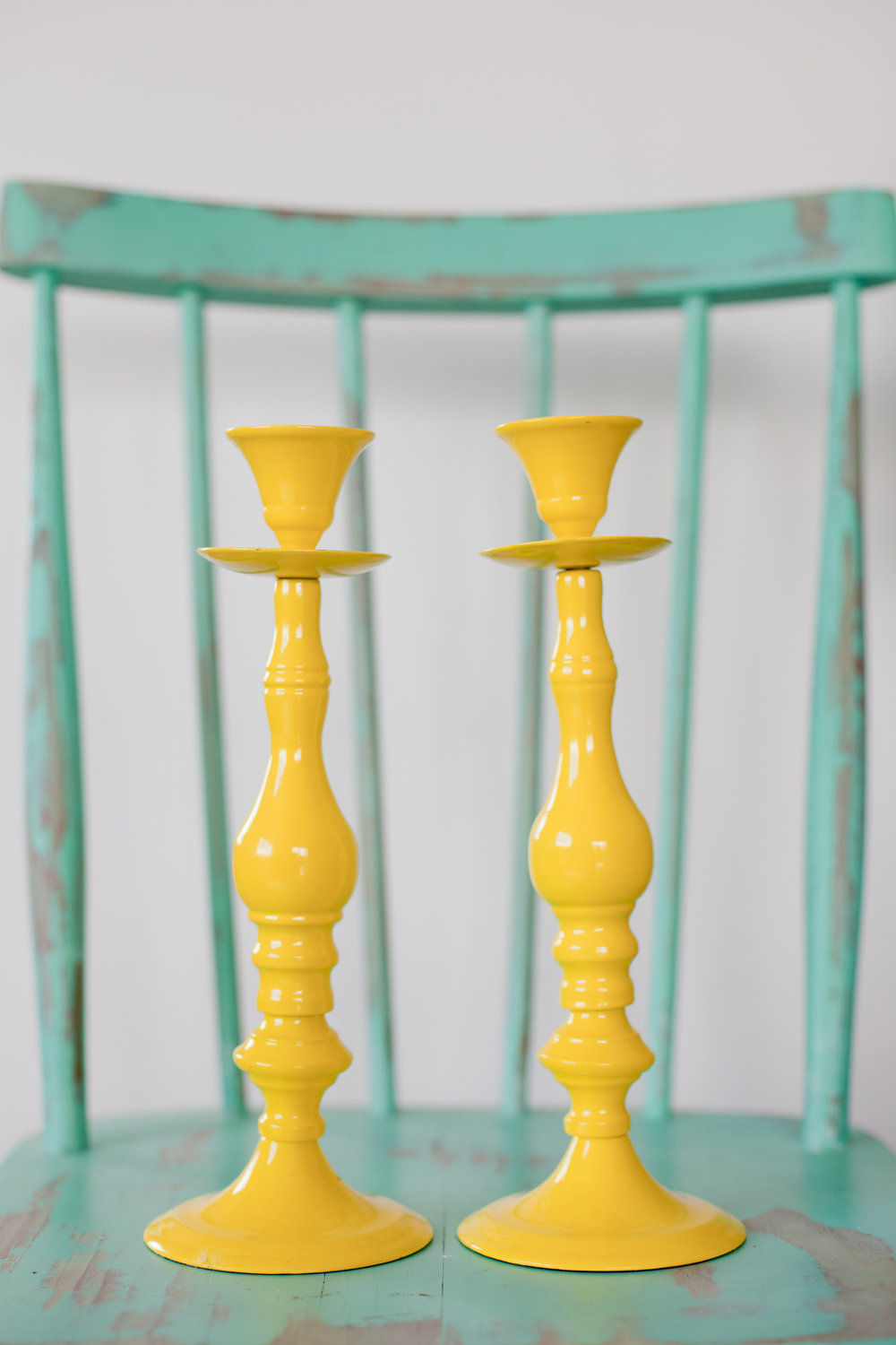 Yellow Metal Candle Sticks