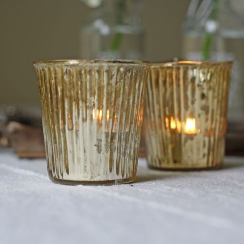Ribbed Mercury Glass Tealight - Sml & Lrg