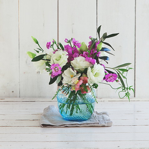 Blue Flower Globe - Lrg