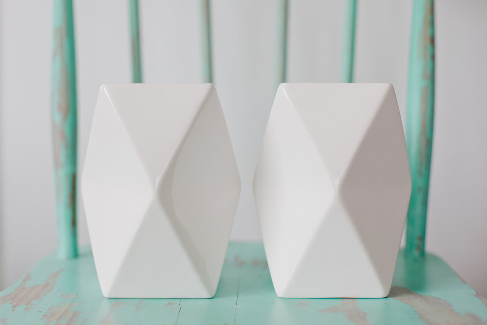 White Ceramic Geo Vase