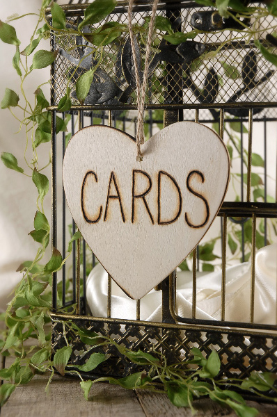 Wooden Hearts Card Sign