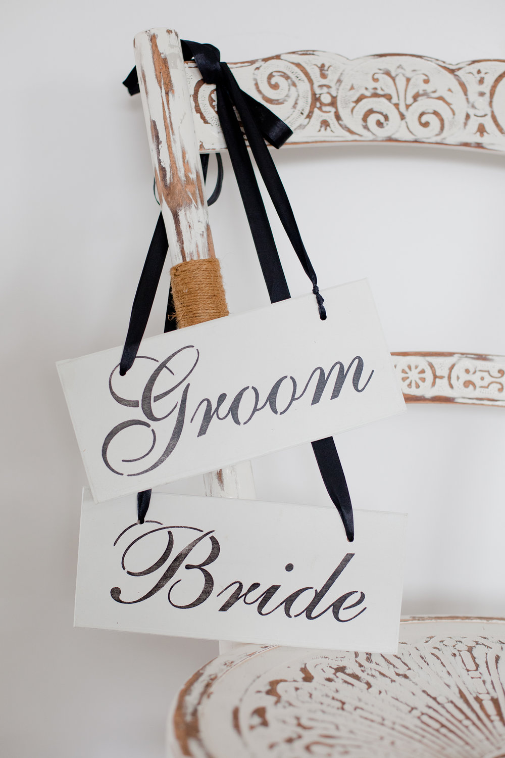 White Bride and Groom Signs