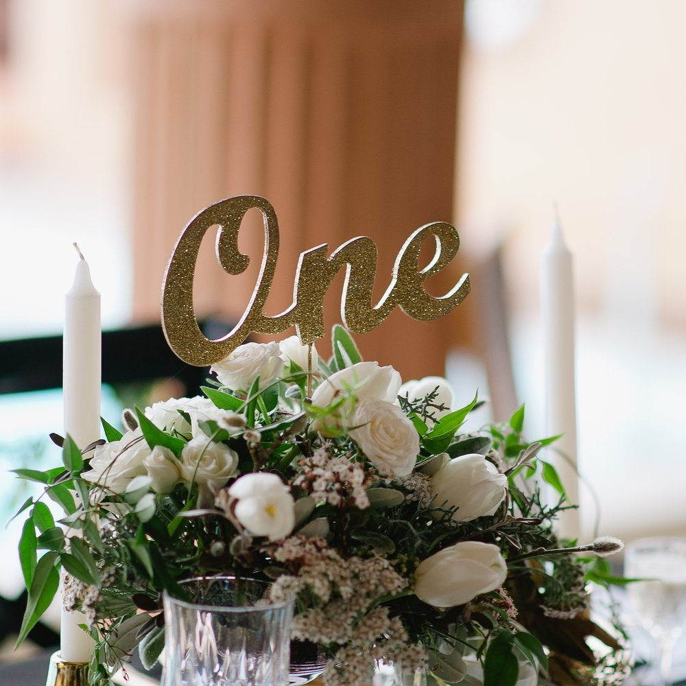 Tall Gold Table Numbers - Glitter