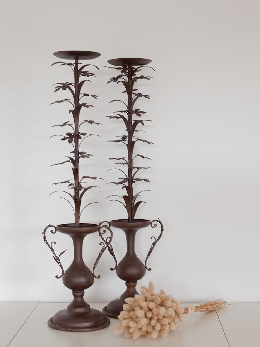 Wrought Iron Pillar Candle Holder