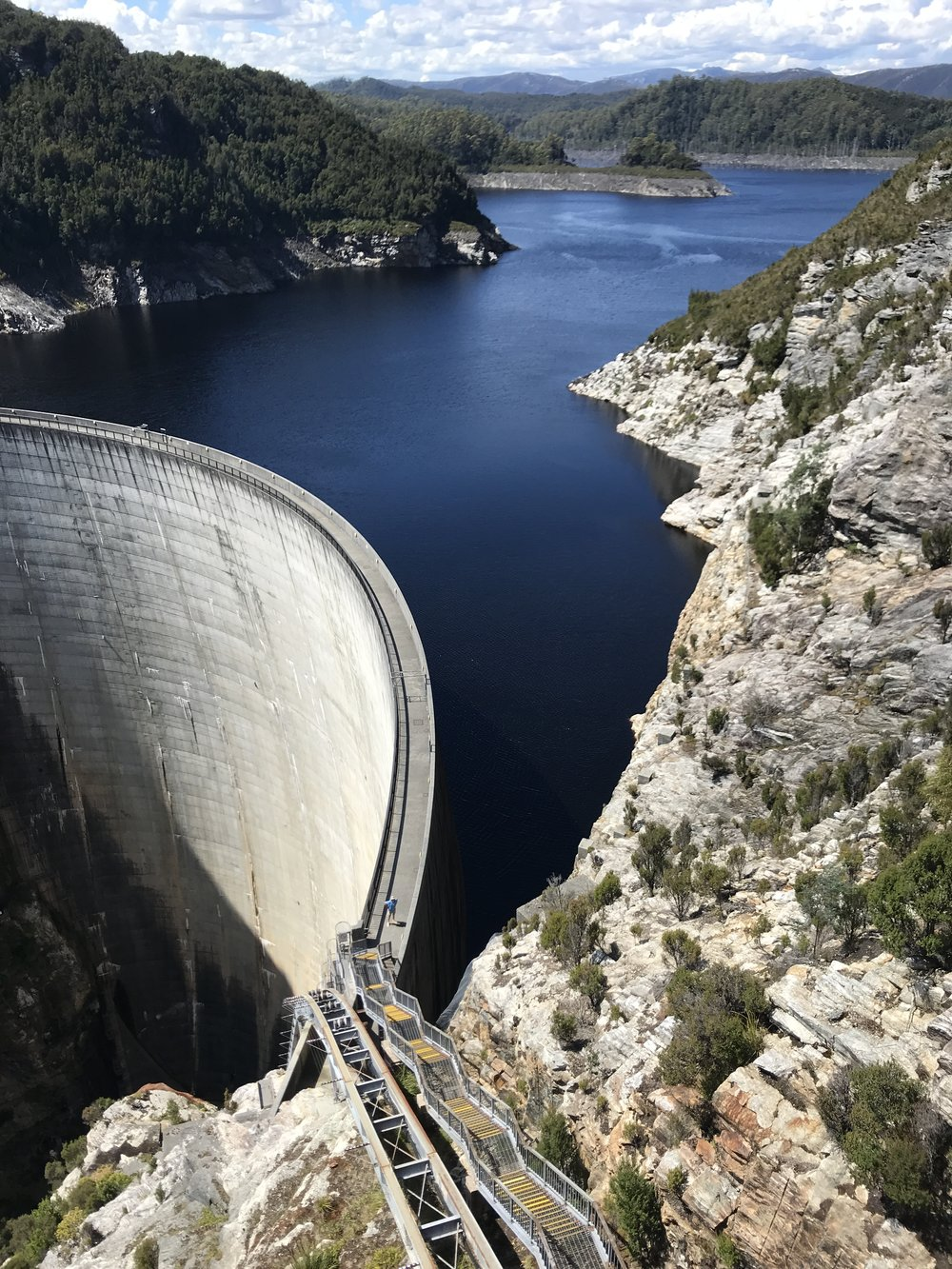 The Gordon Dam is mind blowing and man made in the early 1970's. It is located out near Lake Peddar which is 140 metres high and you can abseil off this with Aardvark Adventures......