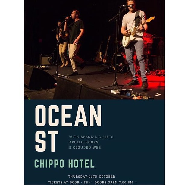 At the Chippo this Thurs! Supporting @oceanstband with Clouded Web 🌴