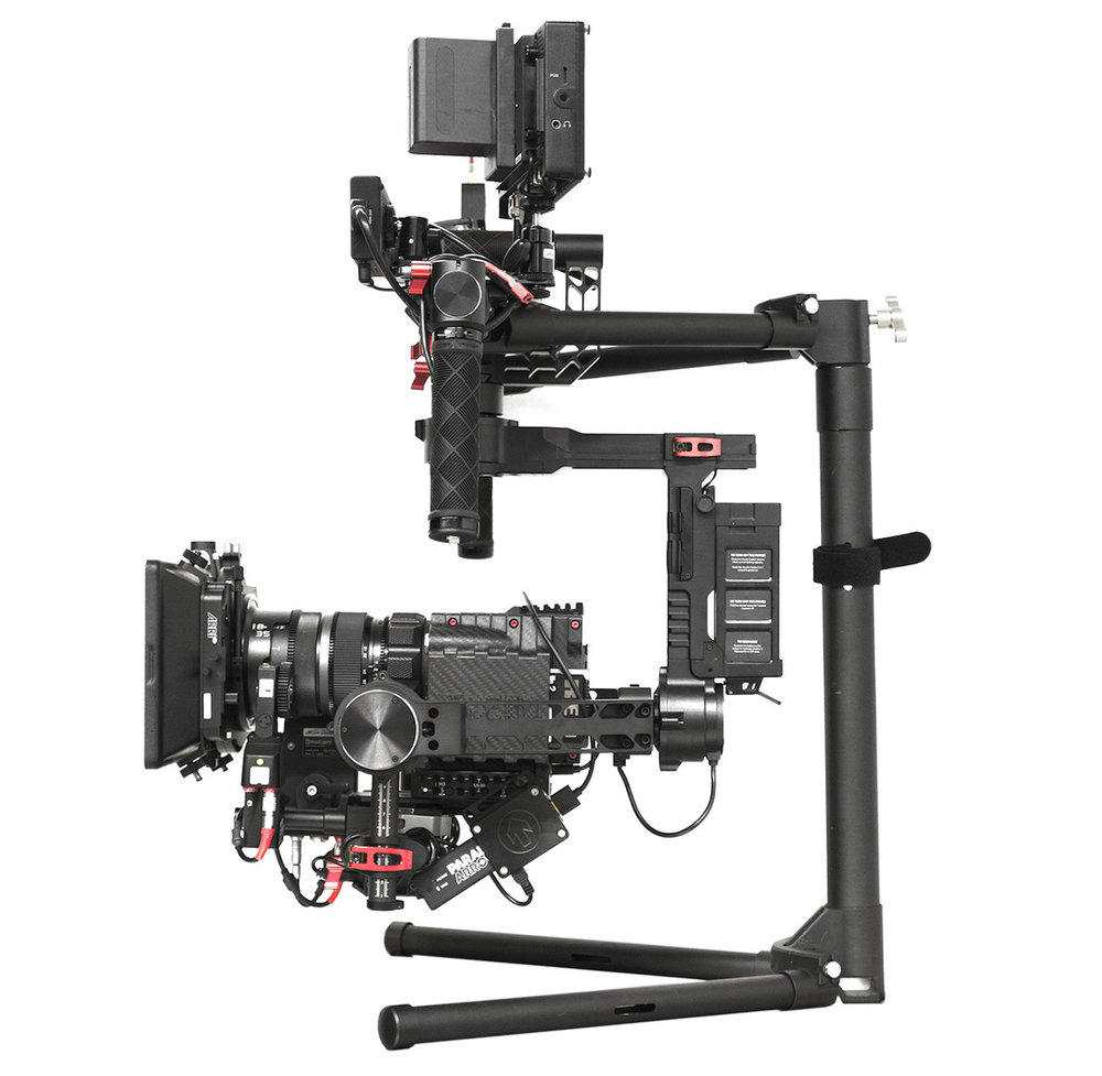 DJI Ronin - $200/day3-Axis Motorized Gimbal Stabilizer16lb max payloadIntegrated transmitter for pan/tilt controlUSB and PowerTap Power Outputs