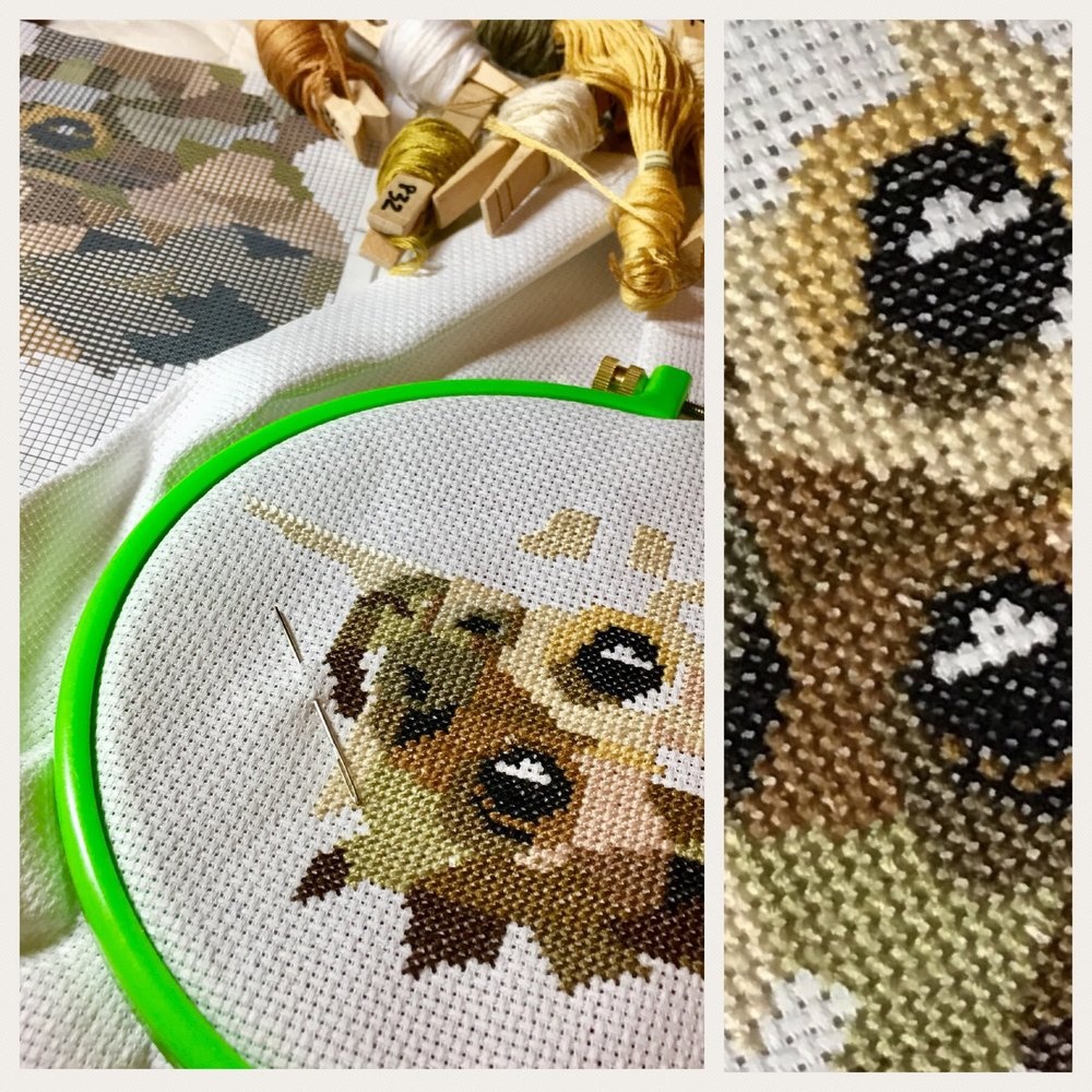 I'm stitching me a cute monkey y'all! - *she says with a wink*