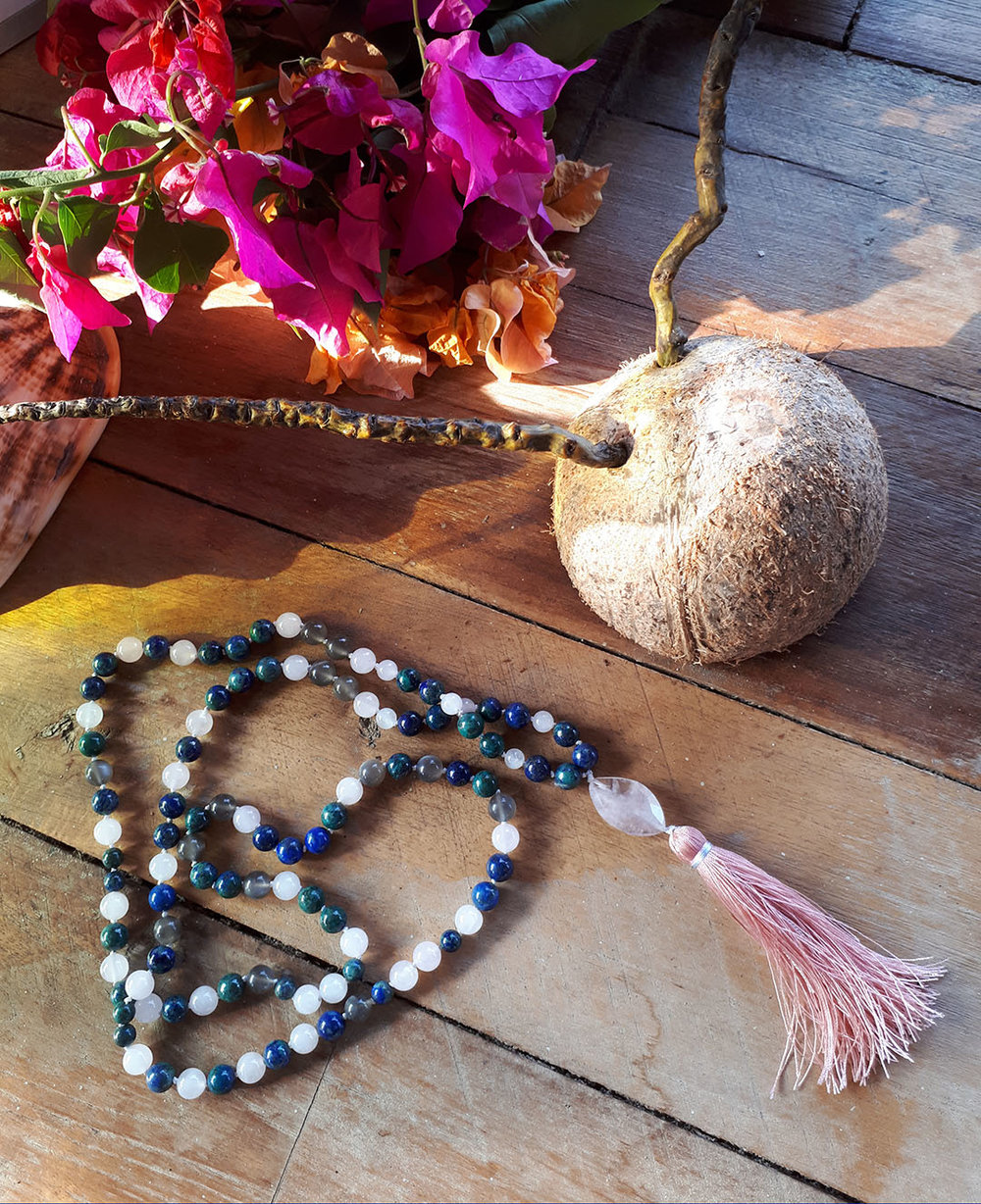 Teaching Heart Mala - Chrysocolla, Grey Moonstone and Rose Quartz for personal expression and empowerment
