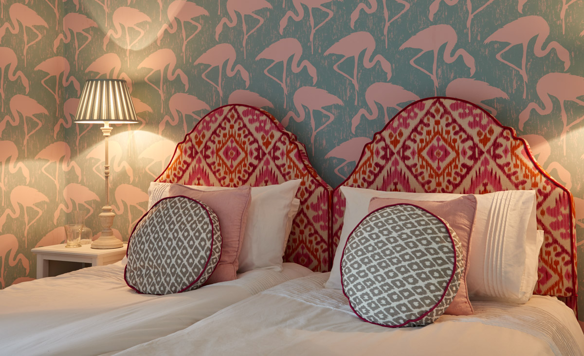 Lamu Pink Orange Upholstered Headboard King Double Single Size Contemporary Design Home Accessories Sarah Fortescue