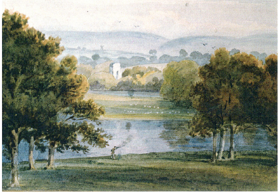 Watercolour view over Knepp Mill Pond to the ruin of old Knepp Castle, with the South Downs in the distance