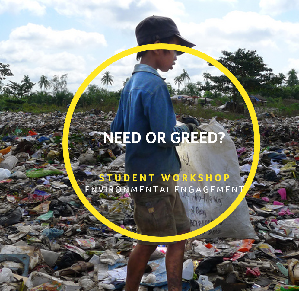 Need Or Greed? - The world doesn't belong to us, we belong to it.Need or Greed? immerses students into the world of consumption by challenging them to consider the choices we are being asked to make when it comes to what we buy and what we do with our 'stuff' when we no longer want it.By engaging in a series of challenges and discussions focused on the food and textile industry -as well as taking a peek into our rubbish habits - this interactive workshop  will ask students to start questioning their own habits, engage with the effects of their actions on other people and understand the differences between need and greed.