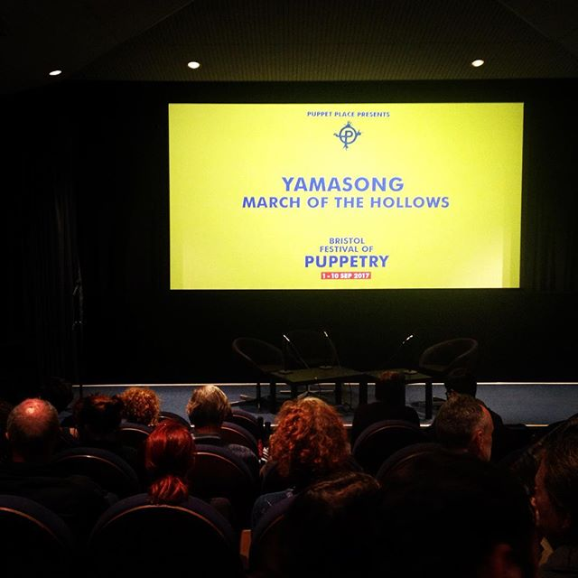 So exited about this one! The Yamasong: March of the Hollows is about to start.  #BFP17 #yamasong #watershed #bristol #liveactionpuppetry #puppets