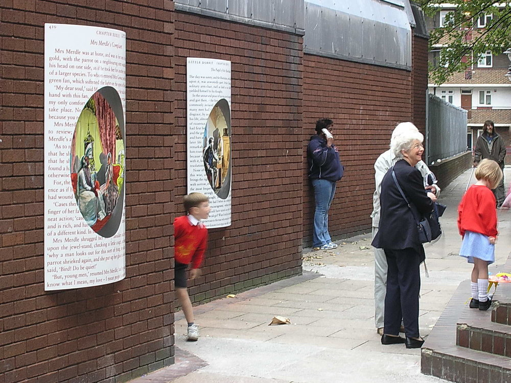 The four panels were placed along Angel Alleyway, on the wall of the public library, opposite the siteof the prison.