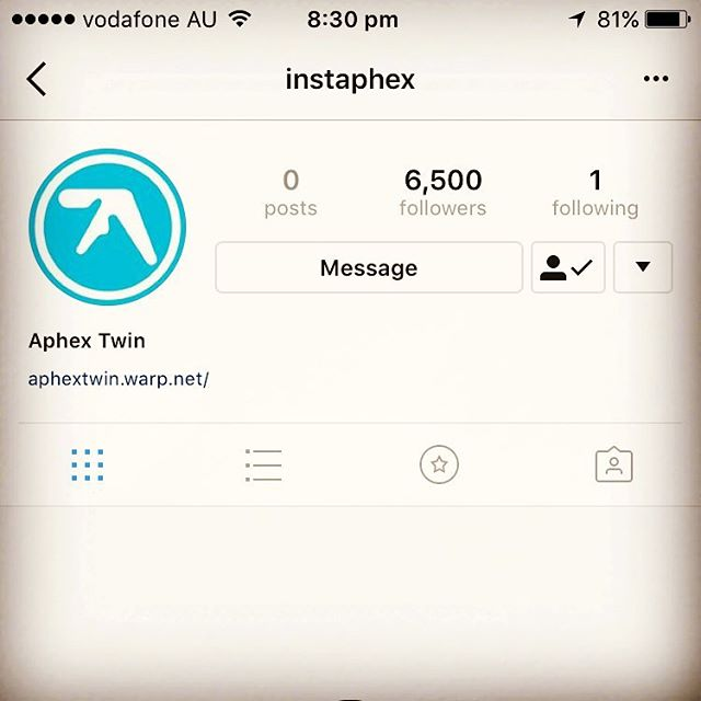 I've been listening to a lot of #aphextwin lately which triggered me to seek him out on Instagram. And here he is, delivering a masterclass in proper social media management. Beautiful. #socialmedia #turnontuneindropout #mastery #cometoinsta