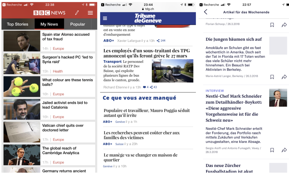 "1. BBC app with ""My News"" feed ┆2. Tamedia's ""Flint"" personalized recommender that performs 150 percent better than algorithms for the general audience ┆3. NZZ Companion results"