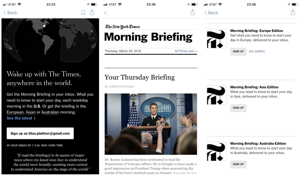 "The New York Times now has four versions of its ""Morning Briefing,"" but still no personalization."