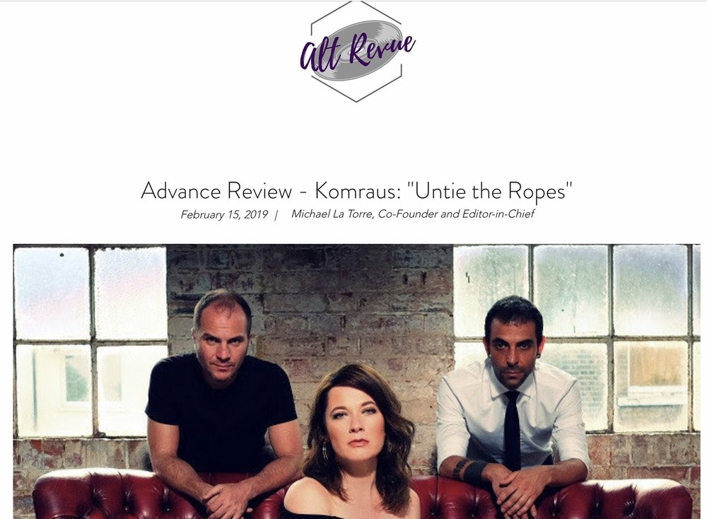 "ALT REVUE-FULL ALBUM REVIEW - ""Subtlety is the key to this album. The rhythms build in slow waves that create an atmosphere that envelopes the listener. This allows the vocals of Rioja to pierce through shine in each track. Overall this was a strong album. Many artists try to build an ambiance and an environment through melody and percussion. Few do it as well as Komraus does"""