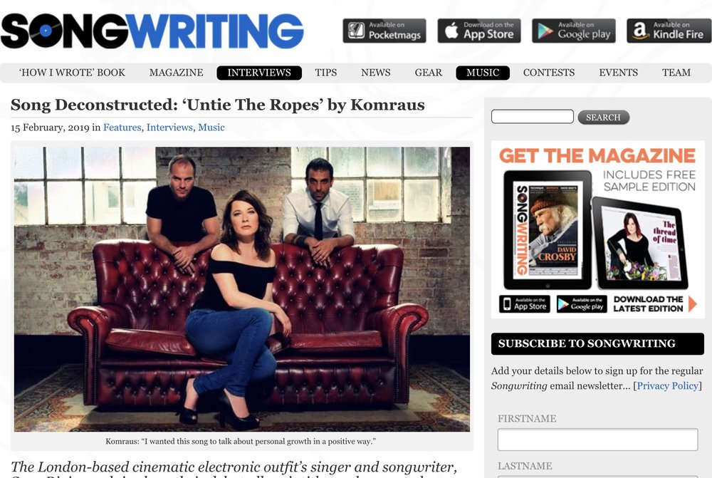 SONGWRITING MAGAZINE Interview- - 'Untie the ropes' interview to Sara Rioja or how the song was written