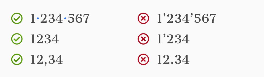 Bonnes pratiques pour l'écriture des chiffres.